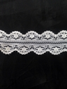Wholesale white / black scalloped poly lace trim 1 1/4 in L8-2a
