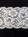 Wholesale  yard White Sequin Floral Stretch Lace Trim 3 1/2 inch