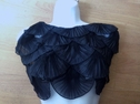 Black / purple Neckline  fan pleated collar applique