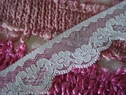 Wholesale Roll 50 yards baby blue double scalloped floral Lace Trim 1 1/16 inch wide