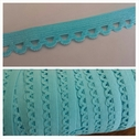 wholesale roll of 100 yards of turquoise picot elastic 1/4 inch wide.
