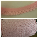 wholesale roll of 144 yards of baby pink picot elastic 1/2 inches wide.