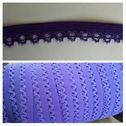 wholesale roll of 144 yards of purple picot elastic trim 1/2 inch wide.
