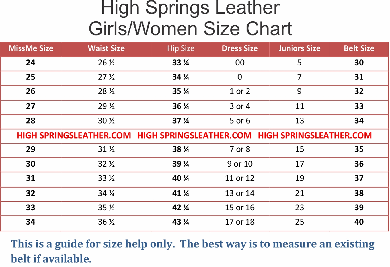 and belt size chart