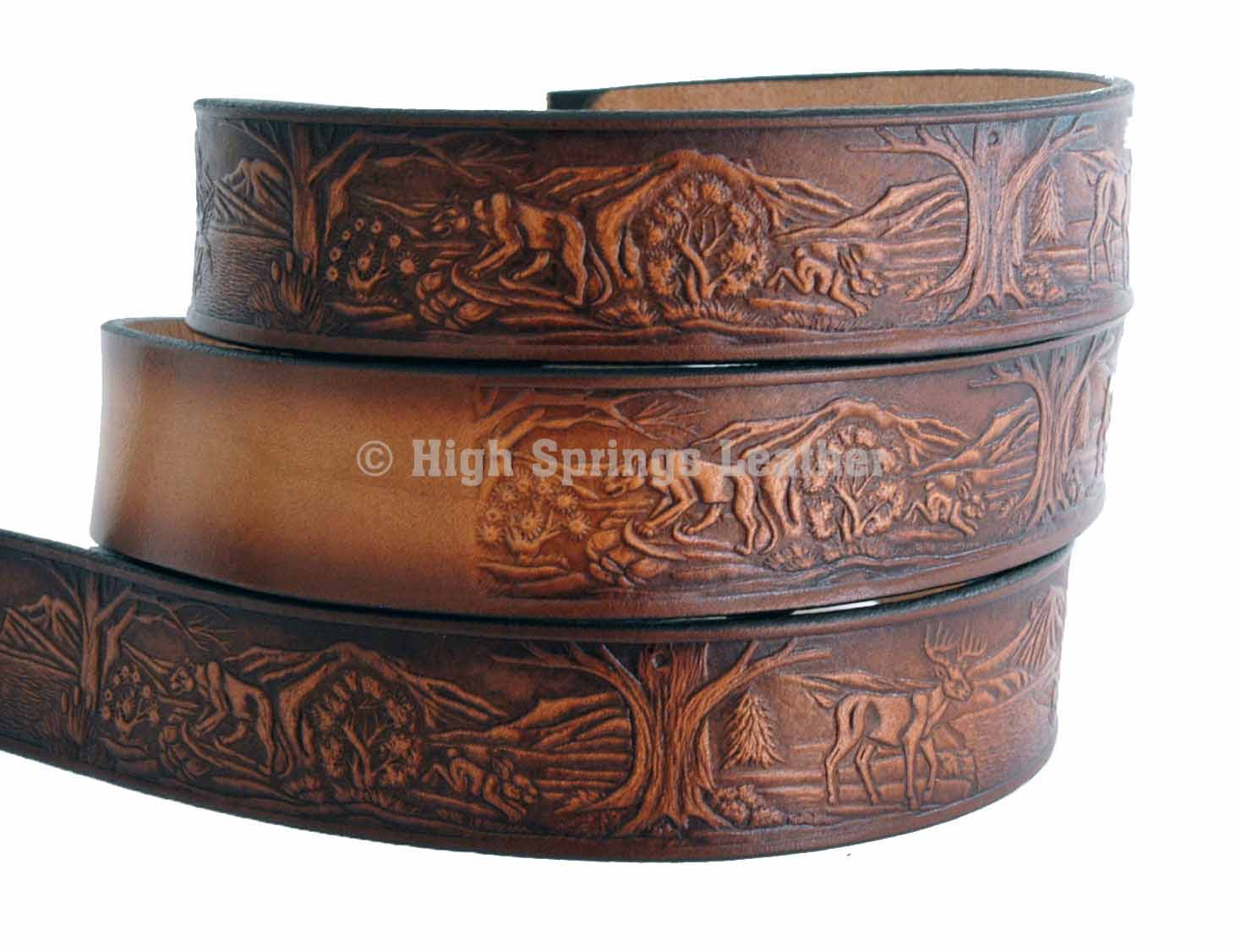 wildlife leather name belt l high springs leather