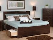 Coal Harbor Storage Bed with Headboard (Espresso)