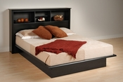 Contemporary Platform Bed with Headboard (Black)