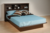 Contemporary Platform Bed with Headboard (Espresso)