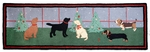 Dogs Decorating Hooked Wool Rug Runner