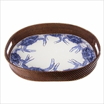 Blue Crab Rattan Tray
