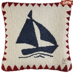 Sail Away Hooked Wool Pillow
