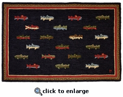 River Fish 4' x 6' Hooked Wool Rug