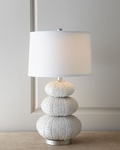 Two Stacked Sea Urchin Coastal Decor Lamps