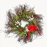 Twig Wreath with Red Bow