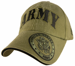 Army With Crest Embroidered Low-Profile OD Green Ball Cap Hat