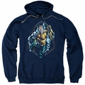 Aquaman pull-over hoodie Thrashing adult navy