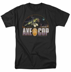 Axe Cop t-shirt Axe Cop Vs Aliens mens black