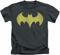 Batgirl kids t-shirt Logo Distressed charcoal