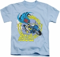 Batgirl kids t-shirt Motorcycle light blue
