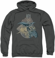 Batgirl pull-over hoodie Biker adult charcoal