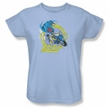 Batgirl womens t-shirt Batgirl Motorcycle light blue
