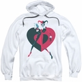 Harely Quinn pull-over hoodie Heart adult white