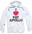 Battlestar Galactica pull-over hoodie I Heart Fat Apollo adult white