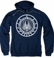 Battlestar Galactica pull-over hoodie Scratched BSG Logo adult navy