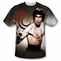 Bruce Lee front sublimation t-shirt Scratched short sleeve White