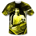 Bruce Lee front sublimation t-shirt Stripes short sleeve White