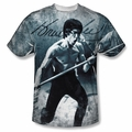 Bruce Lee front sublimation t-shirt Whoooaa short sleeve White