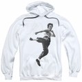 Bruce Lee pull-over hoodie Flying Kick adult white