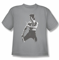 Bruce Lee youth t-shirt Chinese Characters silver