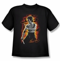 Bruce Lee youth t-shirt Dragon Fire black