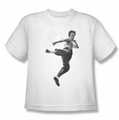 Bruce Lee youth t-shirt Flying Kick white