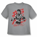 Bruce Lee youth t-shirt Ink Splatter silver