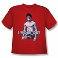 Bruce Lee youth t-shirt Lee Works Out red