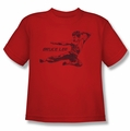 Bruce Lee youth t-shirt Line Kick red