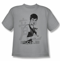 Bruce Lee youth t-shirt Punch silver