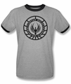BSG ringer t-shirt Galactica Badge adult heather black