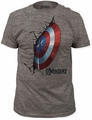 Captain America crash shield fitted tri-blend tee heather tri-blend t-shirt pre-order