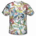 DC Comic front sublimation t-shirt Super Collage short sleeve White