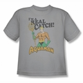 DC Comics youth teen t-shirt Aquaman I'm a Real Catch silver