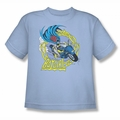Batgirl youth teen t-shirt Motorcycle light blue