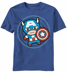 Kawaii Captain America Cap In Circle t-shirt men Lt Navy