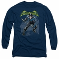 Nightwing adult long-sleeved shirt Profile navy