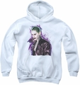 Suicide Squad youth teen hoodie joker stare white