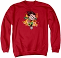 Teen Titans Go adult crewneck sweatshirt Robin red