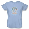 Batgirl Wonder Woman Supergirl Super Powers X 3 womens t-shirt  light blue