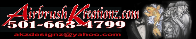 Airbrush Kreationz specializes in custom airbrush designs on pretty much any surface the paints will stick to